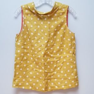 BODEN | MAIZE & WHITE POLKA DOT LINEN TOP, SZ 4